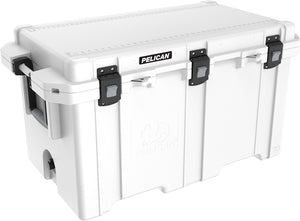 White and grey 150 Quart Elite Pelican Cooler. Made in USA with a lifetime warranty. Cheaper than the competition.