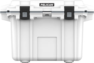50 quart Pelican Elite Cooler with lifetime warranty and made in America. White and grey.