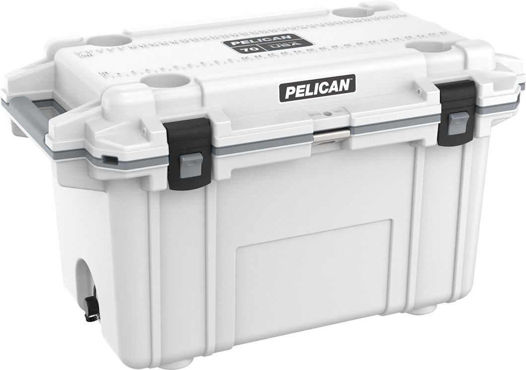 Pelican 70qt Cooler White on Grey