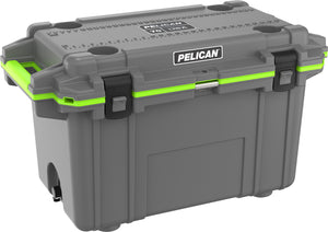 Pelican 70qt cooler charcoal grey and neon lime green