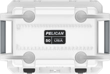 50 quart Pelican Elite Cooler with lifetime warranty and made in America. White and grey with cupholders on the lid.