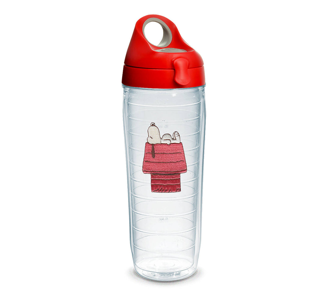 Peanuts Snoopy tervis water bottle. Snoopy sleeping on his dog house