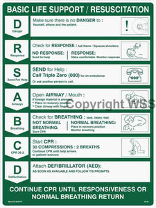 Sign-Safety Signs- CPR DRSABCD Life Support Chart