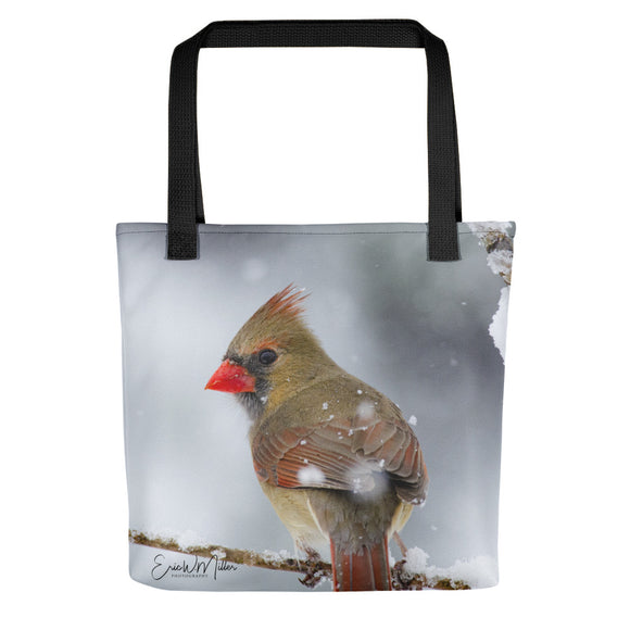 Female Cardinal Winter Scene Tote Bag