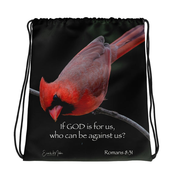 Red Cardinal drawstring bag