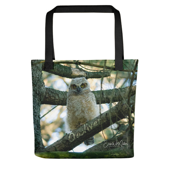 Owliver - Beautiful young owl tote bag