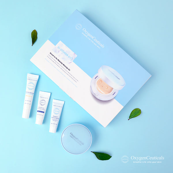 OxygenCeuticals O2 Cushion Kit, 4 Types Products, Makeup Kit, Travel friendly, TSA approved sizes. kbeauty koreanbeauty cosmetics cushion foundatio