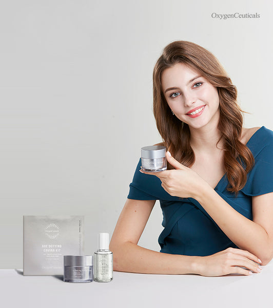 Oxygenceuticals Age-defying Caviar Kit helps to lift, firms, and provide a long-lasting tensing effect to the skin. You can speed up hydration and skin restoration with caviar.