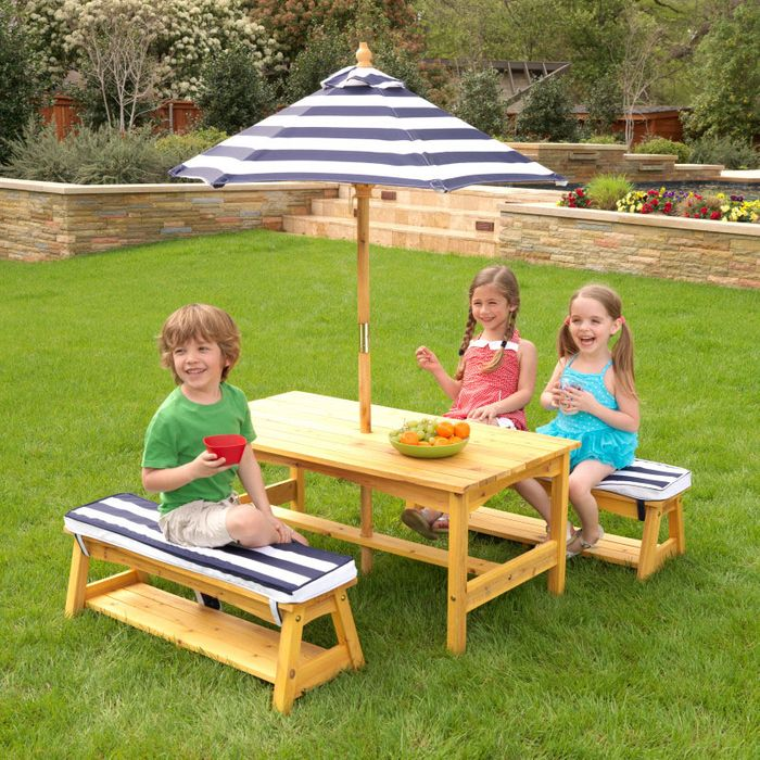 Outdoor Table & Bench Set with Cushion & Umbrella - Navy & White Stripes