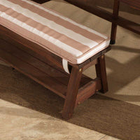 Outdoor Table & Bench Set with Cushion & Umbrella - Oatmeal and White Stripes