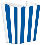 Bright Royal Blue Striped Popcorn Favour Treat Box
