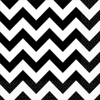 Black Chevron Lunch Napkins