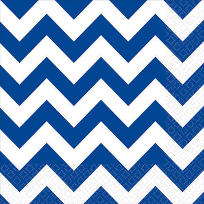 Bright Royal Blue Chevron Lunch Napkins