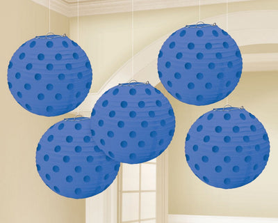 Bright Royal Blue Mini Paper Lanterns