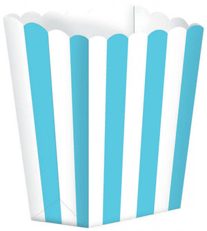 Carribean Blue Striped Popcorn Favour Treat Box
