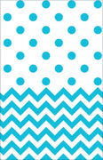 Carribean Blue Chevron & Dots Table Cover