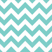 Aqua Chevron Lunch Napkins