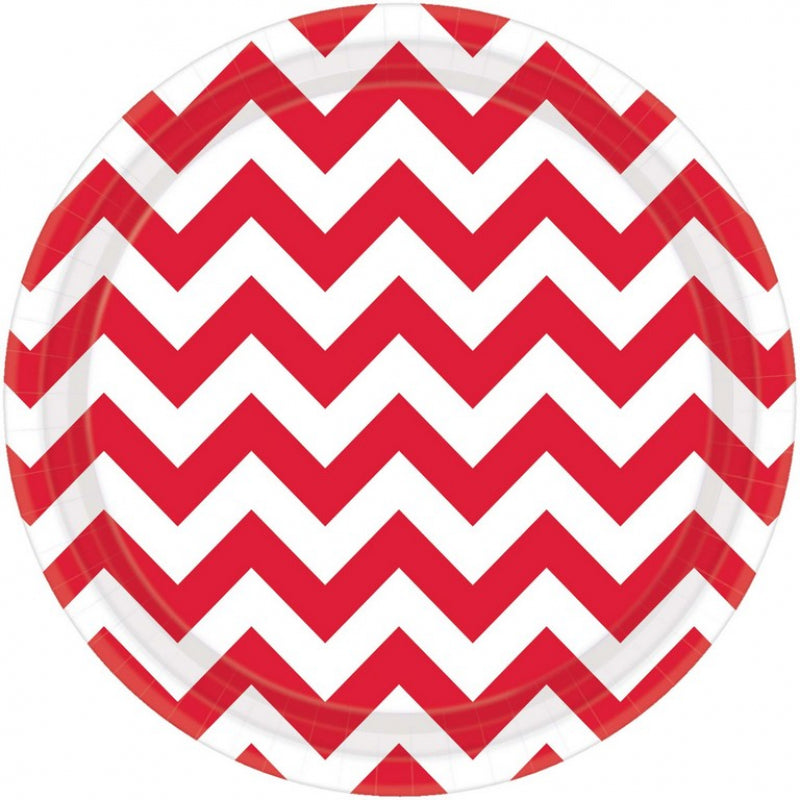 Apple Red Chevron Round Plate
