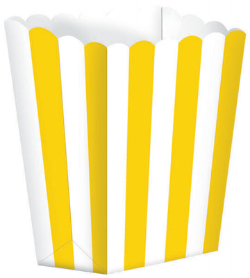 Yellow Striped Popcorn Favour Treat Box