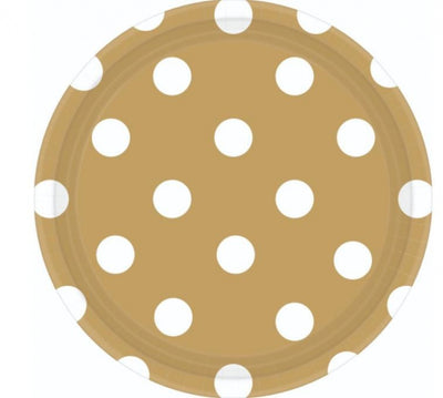 Gold Dots Round Plate