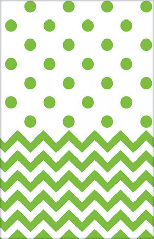 Kiwi Green Chevron & Dots Table Cover