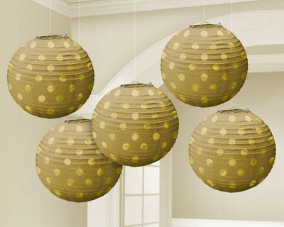 Gold Mini Paper Lanterns