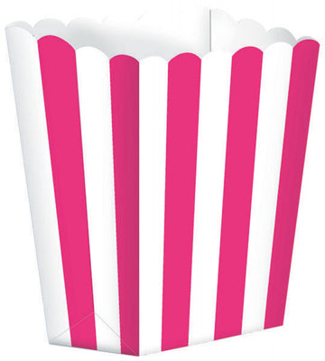 Bright Pink Striped Popcorn Favour Treat Box
