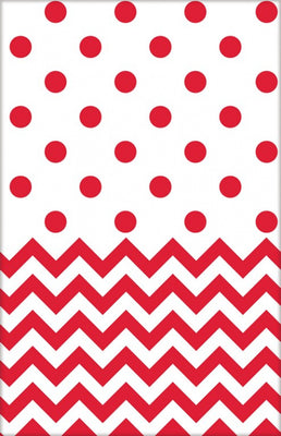 Apple Red Chevron & Dots Table Cover