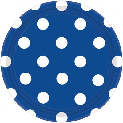Bright Royal Blue Dots Round Plate