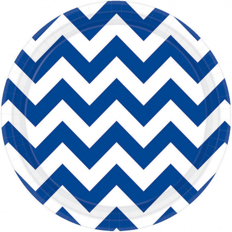 Bright Royal Blue Chevron Round Plate