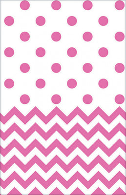 Bright Pink Chevron & Dots Table Cover