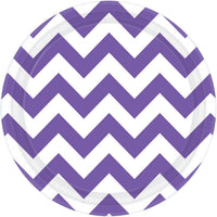 Purple Chevron Round Plate