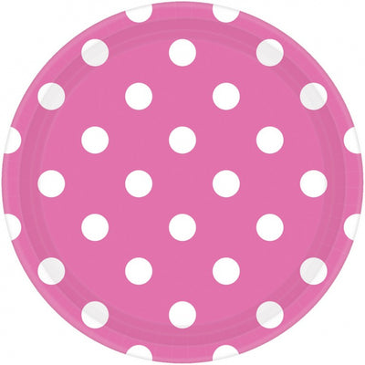 Bright Pink Dots Round Plate