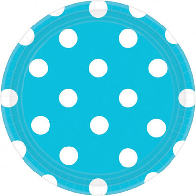 Carribean Blue Dots Round Plate