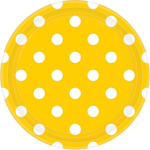 Yellow Dots Round Plate