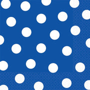 Bright Royal Blue Dots Lunch Napkins