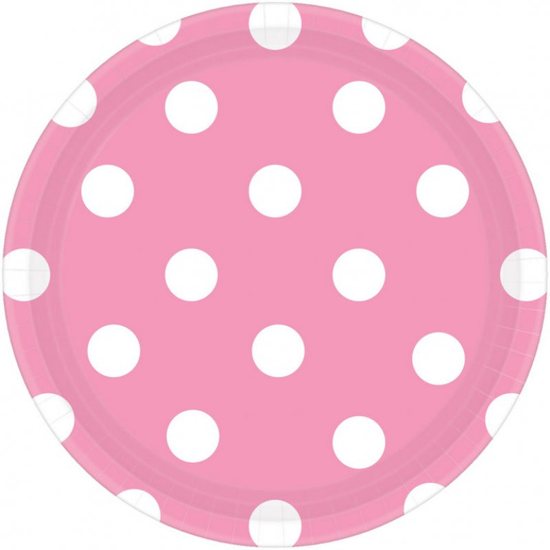 Pink Dots Round Plate