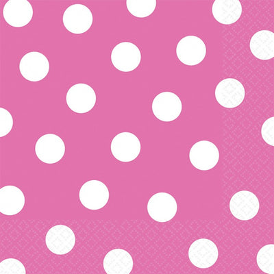 Bright Pink Dots Lunch Napkins