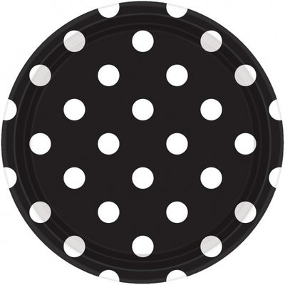 Black Dots Round Plate