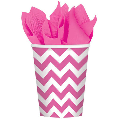 Bright Pink Chevron Cups