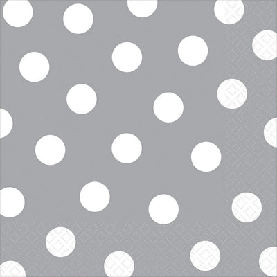 Silver Dots Lunch Napkins