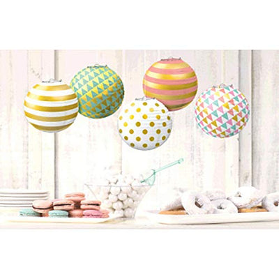 Pastel Hot Stamped Mini Paper Lanterns