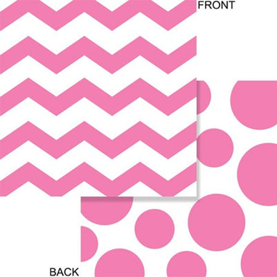 Bright Pink Chevron & Dots Beverage Napkins