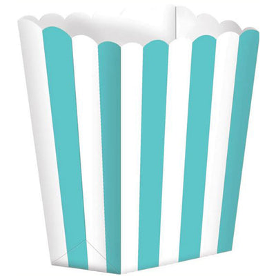 Aqua Striped Popcorn Favour Treat Box