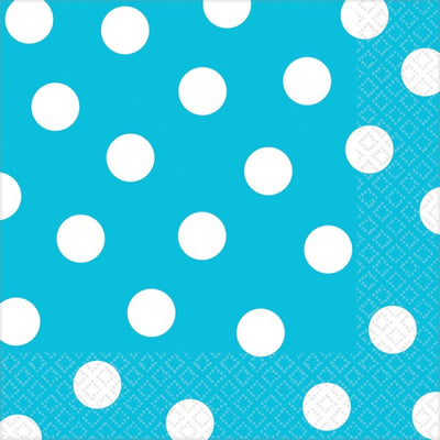 Carribean Blue Dots Lunch Napkins