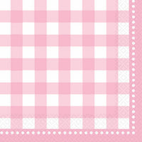 Gingham Baby Pink Napkins