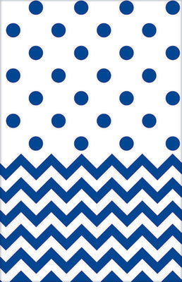 Bright Royal Blue Chevron & Dots Table Cover