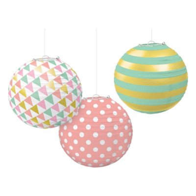 Pastel Hot Stamped Round Paper Lanterns
