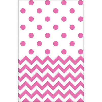 Pink Chevron & Dots Table Cover