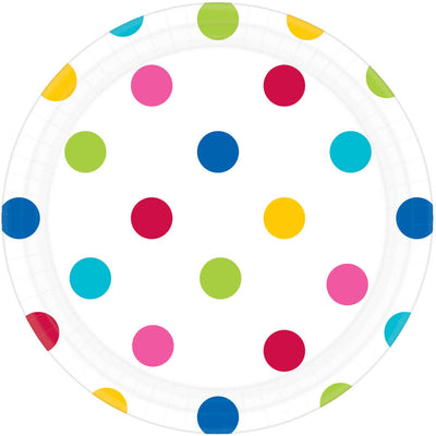 Rainbow Dots Round Plate